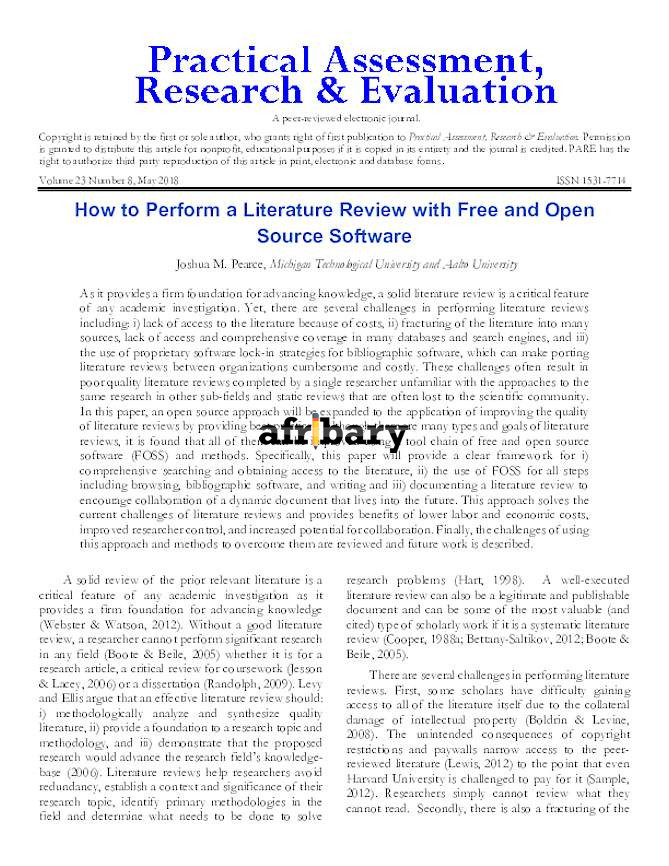 How to Perform a Literature Review with Free and Open ...