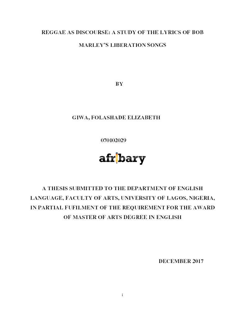 REGGAE AS DISCOURSE: A STUDY OF THE LYRICS OF BOB MARLEY'S