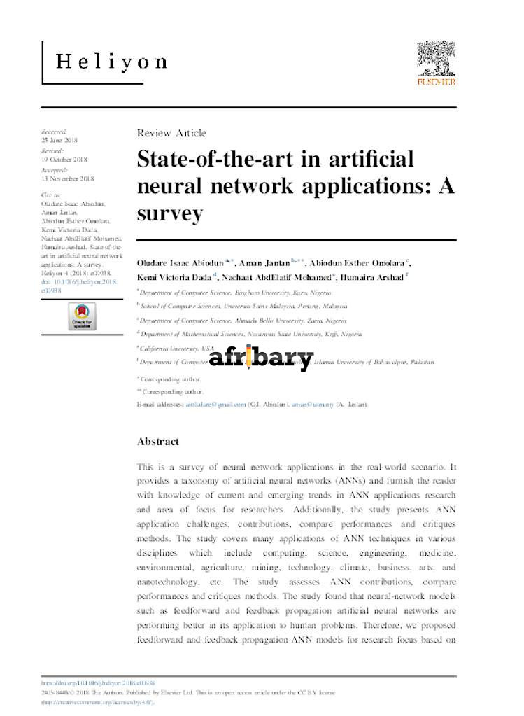 State-of-the-art in artificial neural network applications
