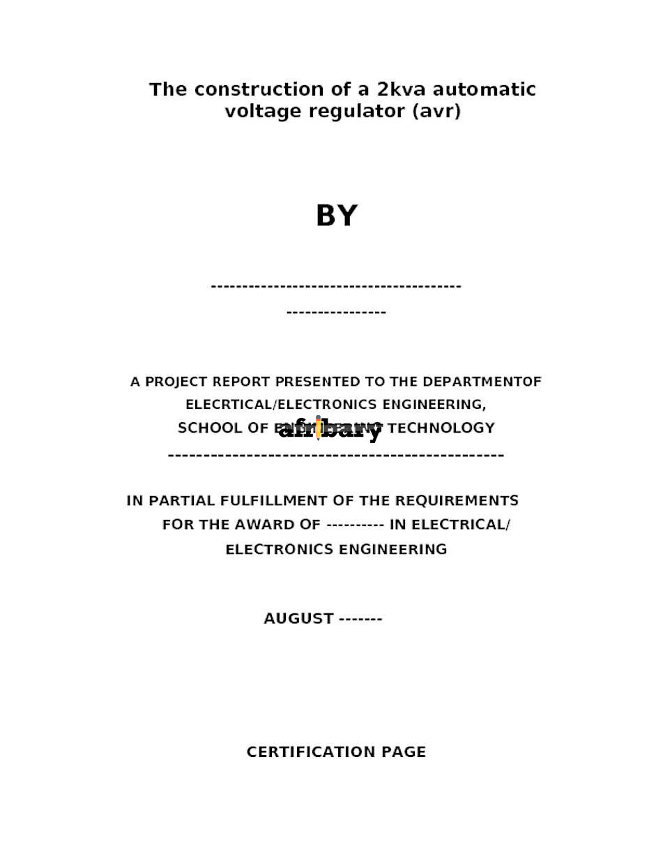 THE CONSTRUCTION OF A 2KVA AUTOMATIC VOLTAGE REGULATOR